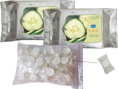 GINNI REFREShing Facial Wipes - 2 Cucumber & 50 coin tissues in candy pack