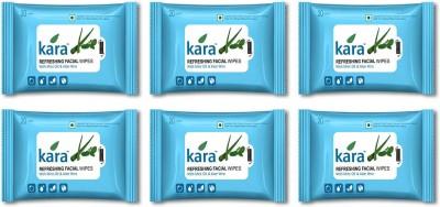 Kara Refreshing Facial Wipes - Aloe Vera & Mint (20 wipes per pack)-Pack of 6