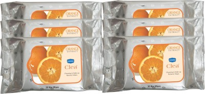 GINNI Cleansing & Refreshing Facial Wipes (Orange) (pack of 6) (30 wipes per pack)