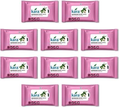 Kara Refreshing Facial Wipes - Aloe Vera & Cucumber (30 wipes per pack)-Pack of 10