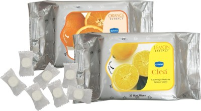 GINNI Refreshing Facial tissues-( Lemon & Orange)(pack of 2) (30 wipes per pack) & 50 coin tissues(each in candy pack)
