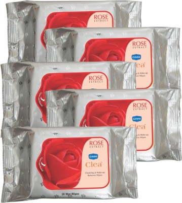 GINNI Cleansing & Refreshing Facial Wipes (Rose) (pack of 5) (30 wipes per pack)
