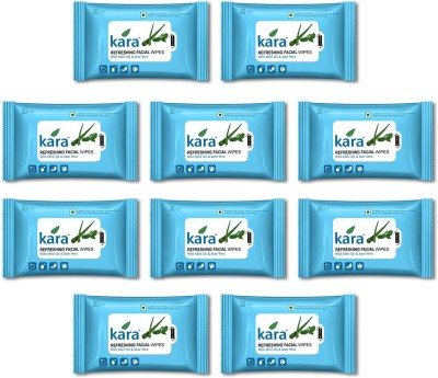 Kara Refreshing Facial Wipes - Aloe Vera & Mint (30 wipes per pack)-Pack of 10