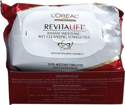 LOREAL PARIS Revitalift Smoothing Wet Cleansing Towelettes Wipes