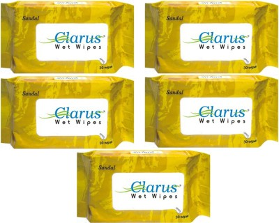 Clarus Wet Wipes Sandal 30 Pulls Pack of 5
