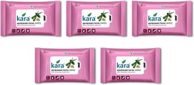 Kara Refreshing Facial Wipes - Aloe Vera & Cucumber (30 wipes per pack)-Pack of 5