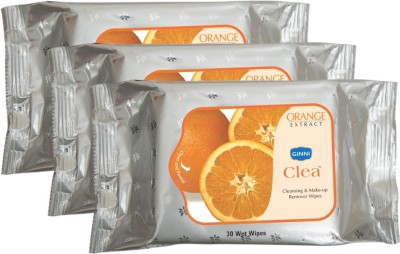 GINNI Refreshing Facial Wet Wipes-Orange(pack of 3)(30 wipes per pack)