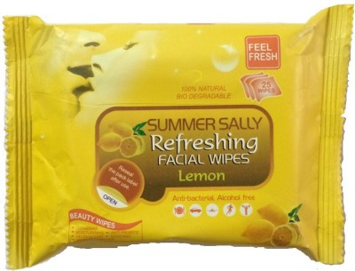 Summersally Refreshing Facial Wipes - Lemon(Pack of 1)