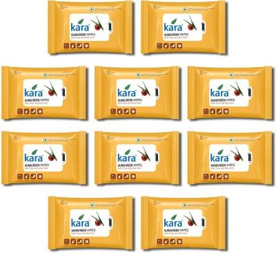 Kara Sunscreen facial Tissue- Plum & Aloe Vera (10 wipes per pack)- Pack of 10