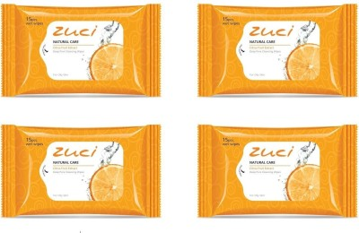 Zuci Natural Care Citrus Fruit Extract Deep Pore Cleansing Wet Wipes (15 Pieces) - Pack of 4(Pack of 60)