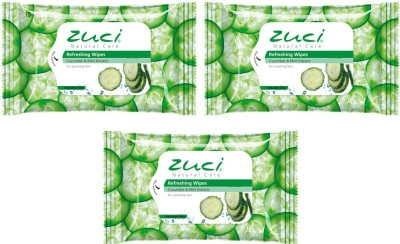 Zuci Pack Of 3 Cucumber & Mint Wet Wipes