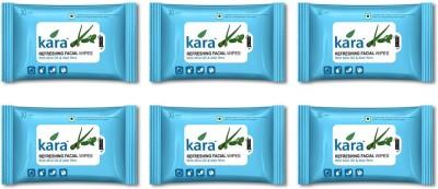 Kara Refreshing Facial Wipes - Aloe Vera & Mint (30 wipes per pack)-Pack of 6