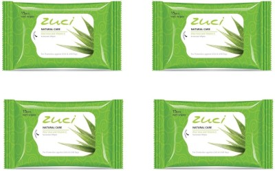 Zuci Natural Care Aloe Vera and Vitamin-E Sunscreen Wet Wipes (15 Pieces) - Pack of 4(Pack of 60)