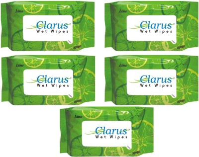 Clarus Wet Wipes Lime 30 Pulls Pack of 5