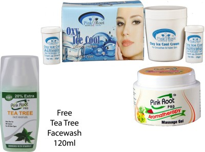 PINK ROOT OXY ICE COOL BLEACH CREAM , AROMATHERAPY GEL , TEA TREE FACEWASH