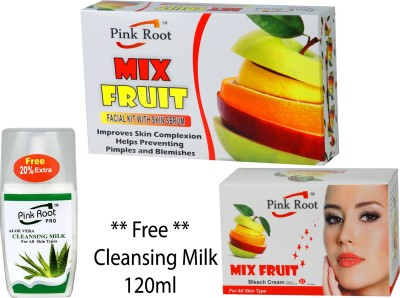 PINK ROOT MIX FRUIT FACIAL KIT , MIX FRUIT BLEACH CREAM , CLEANSING MILK