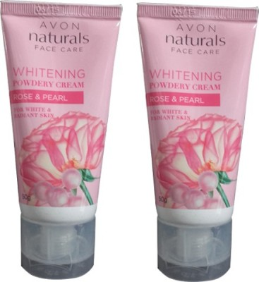Avon Natural Whitening Powdery Cream, Rose & Pearl Pack of 2