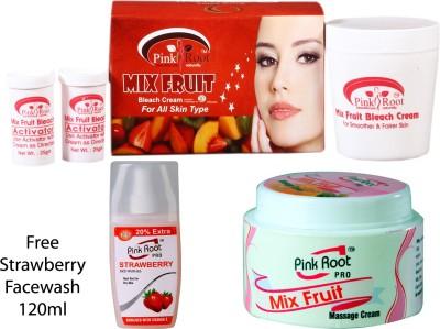 PINK ROOT MIX FRUIT BLEACH CREAM , MIX FRUIT MASSAGE CREAM , STRAWBERRY FACEWASH