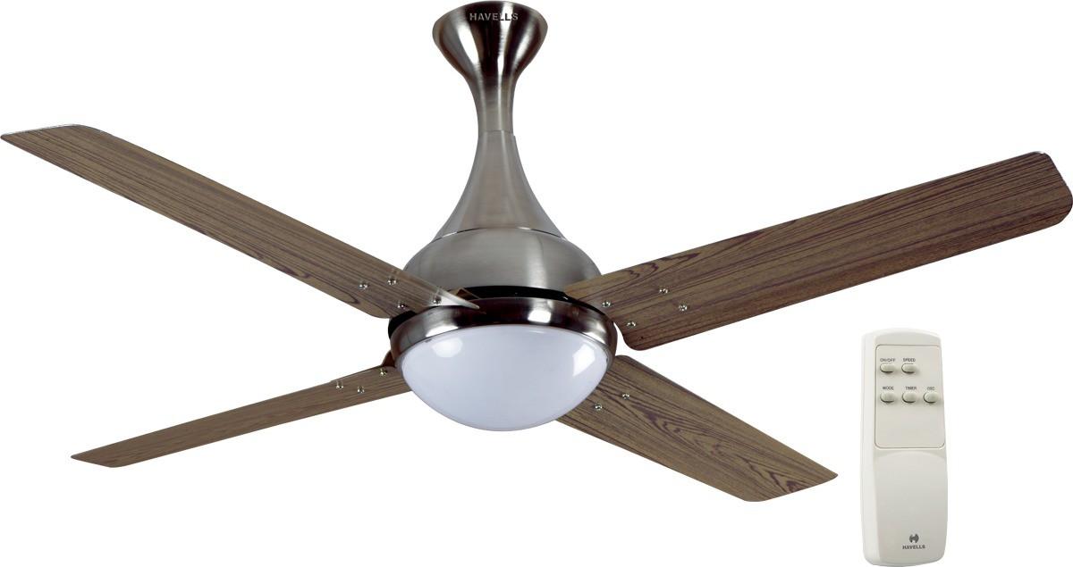 Havells Dew 4 Blade Ceiling Fan Viking Teak Brushed Nickel 1320mm