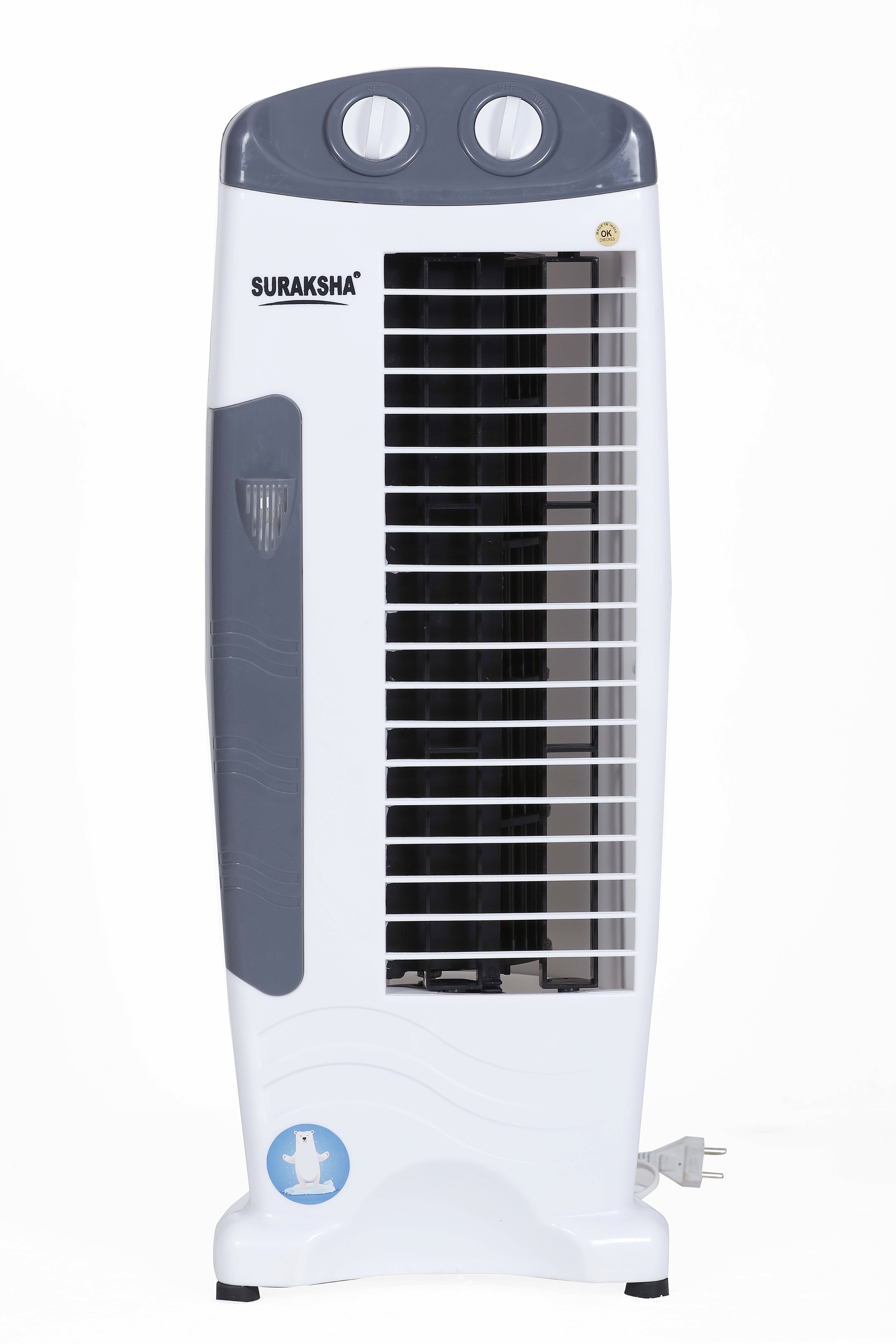 View Suraksha Cool Deco Tower Air Cooler(White, Grey, 00 Litres) Price Online(Suraksha)