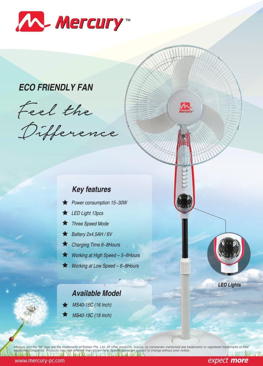 View Mercury MS40-18C Rechargeable 3 Blade Pedestal Fan(White) Home Appliances Price Online(Mercury)