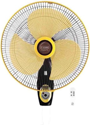 V-Guard Finesta RW 400mm Remote 3 Blade Wall Fan(Black, Yellow)