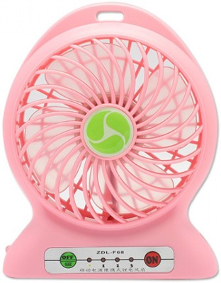 Shopimoz Mini Portable Super Fast Mist Rechargeable Fan 4 Blade Table Fan(Baby Pink)