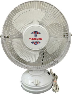 Turbo 4000 All Purpose with Revolving 12 inch 3 Blade Table Fan(White)