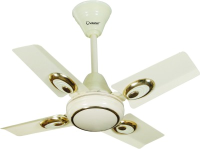 Ovastar Air Flow 600 mm 3 Blade Ceiling Fan(White, Gold)