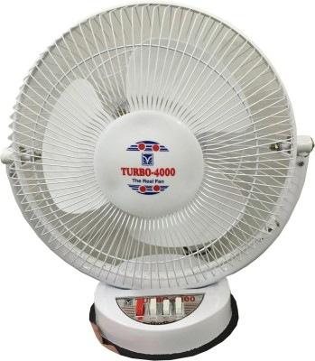 Turbo 4000 All Purpose 3 Speed 12 inch 3 Blade Table Fan(White)