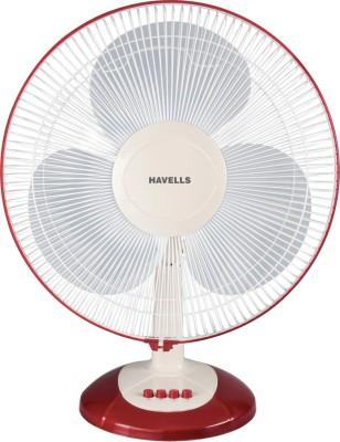 Havells Swing LX 3 Blade Table Fan(White-Cherry) 400mm