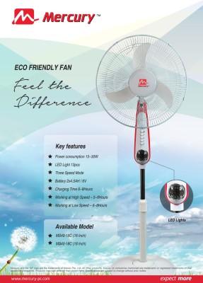 Mercury MS40-18C Rechargeable Pedestal Fan (18 Inches)