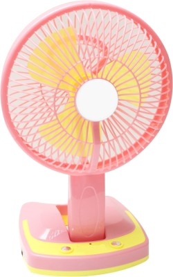 Bazaar Pirates Rechageable With Emegency Light 3 Blade Table Fan(Portable And Easy To Carry)