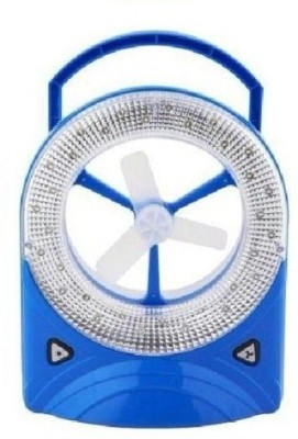 Premium Care Rechargeable Mini Desk Fan with LED Light 3 Blade Table Fan(White, Blue)