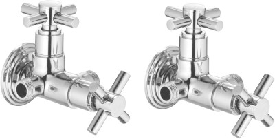 APREE Silver Brass Angle cock 2 in 1 : Series - Axis (Pack of 2) Faucet