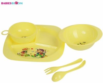 Babies Bloom Baby Yellow Tableware Set of 5 - Baby Feeding Set - Food Grade Plastic(Yellow)