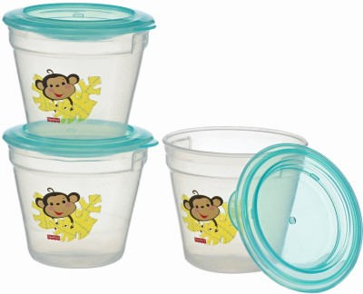 FISHER PRICE BABY FOOD STORAGE CONTAINERS WITH LIDS  - FOOD GRADE PLASTIC(Green, TRANSPARENT)