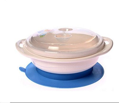 Icable Anti-Spill Table Sucking Bowl with Lid - Prevents the Baby from Spilling Food While Eating  - Made from 100% BPA Free Material, It Does Not Retain Foul Odors and Smells.(Blue)