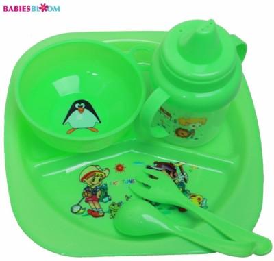 Babies Bloom Green Tableware Set of 5 - Baby Feeding Set - Food Grade Plastic(Green)