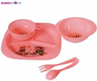 Babies Bloom Pink Tableware Set of 5 - Baby Feeding Set - Food Grade Plastic(Pink)