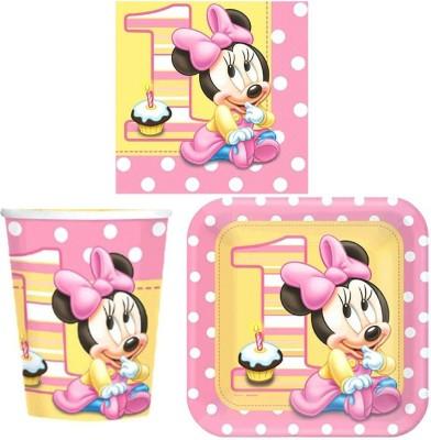 Disney Minnies 1st Birthday Party Tableware Pack - Plastic(Multicolor)
