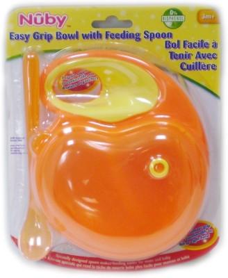 Nuby Easy Grip Bowl With Feeding Spoon - Plastic, Silicon(Orange)