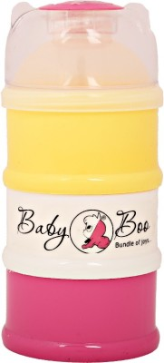 BABY BOO Milk powder containers 3 layer multicolor  - made from non toxic materials., BPA free, polypropylene plastic(yellow pink)