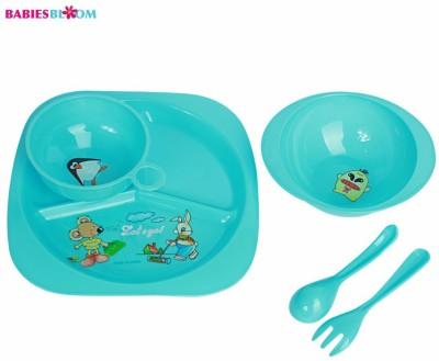 Babies Bloom Blue Tableware Set of 5 - Baby Feeding Set - Food Grade Plastic(Blue)