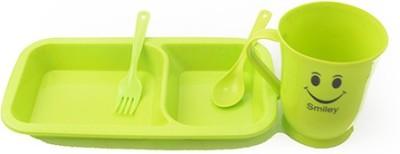 Pratha Kids Smily Platter  - Plastic(Green, Pink)