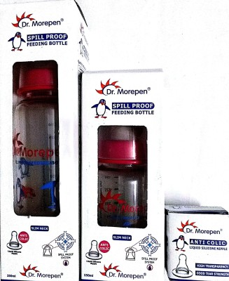 Dr. Morepen Feediing Bottle 250ml, 150ml & Anti Colic Nipple Combo Pack Of 3 - Polycarbonate