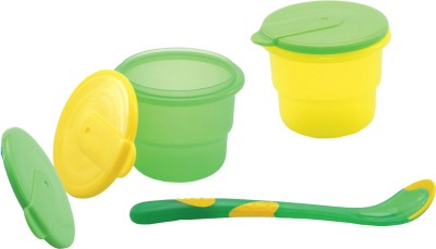 Nuby Storage Bowl with Feeding Spoon  - Polypropylene(Green, Yellow)