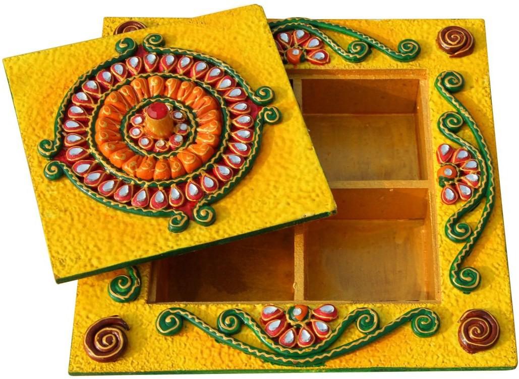 Handicrafts Paradise PMA16543 Wooden Gift Box(Yellow)