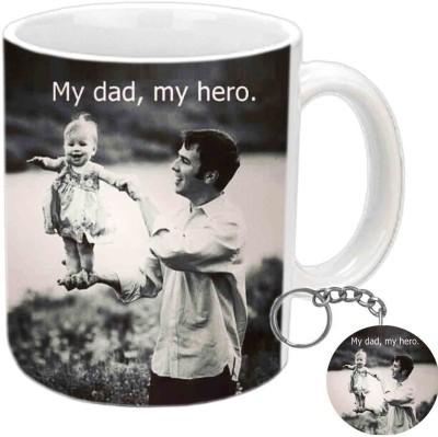 Jiya Creation1 My dad,My Hero Keychain & White Ceramic Gift Box
