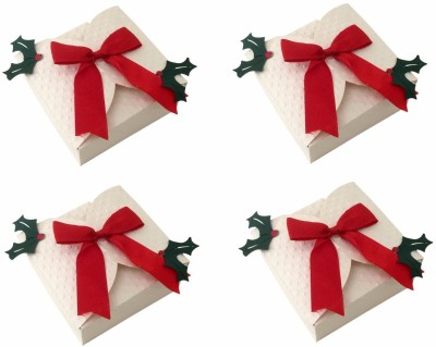 Crack of Dawn Crafts Xmas_4 Paper Gift Box(White, Red, Green)